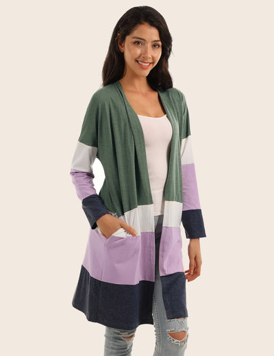 Cozy Open Front Color Block Pockets Cardigan - Blooming Jelly