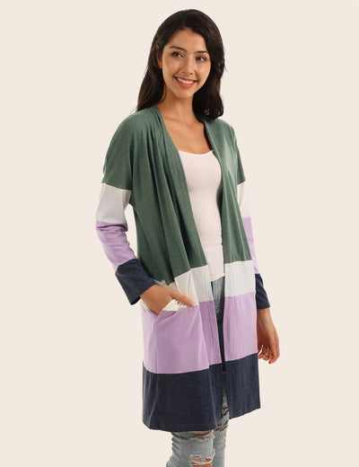 Blooming Jelly_Cozy Open Front Color Block Pockets Cardigan_Green&Purple&White&Black Color Block_294024_25_Women Autumn&Winter Indoor&Outdoor_Tops_Cardigan