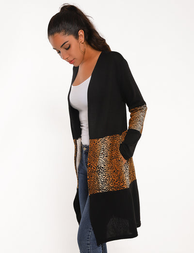 Blooming Jelly_Skinny Leopard Patchwork Open Front Cardigan_Leopard Patchwork_295012_02_Women Wild Daily Wear_Tops_Cardigan