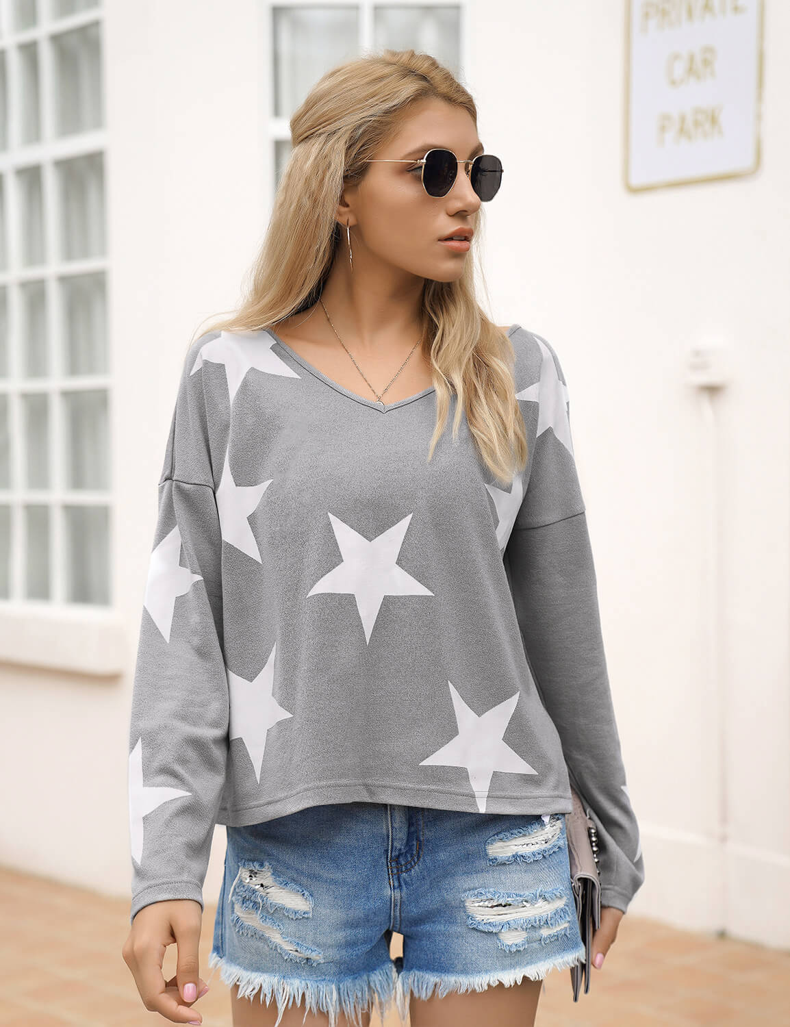 Blooming Jelly_Comfy V Neck Stars Print Sweater_Gray_295033_07_Fall Fashion Women's Outfits_Tops_Sweater