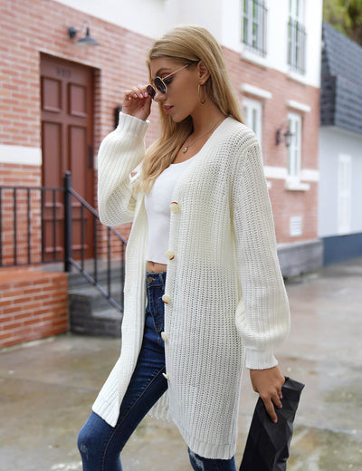 Blooming Jelly_Casual Chic Knit Sweater Long Cardigan_White_297008_01_Women Warm Outfits_Tops_Cardigan