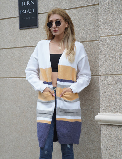 Blooming Jelly_Color Block Warm Cardigan Sweater_Contrast Color_297014_21_Women Casual Street Wear_Tops_Cardigan