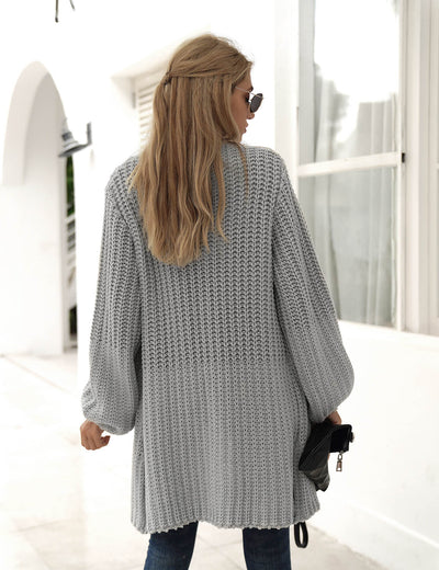 Loose Open Front Knitted Cardigan