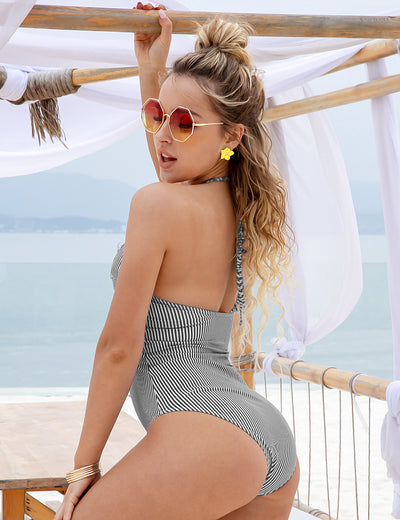 Blooming Jelly_Halter Lace Patchwork One Piece Swimsuit_Grey Stripe_112137_02_Summer Vacay Halter Lace_Swimsuit One Piece