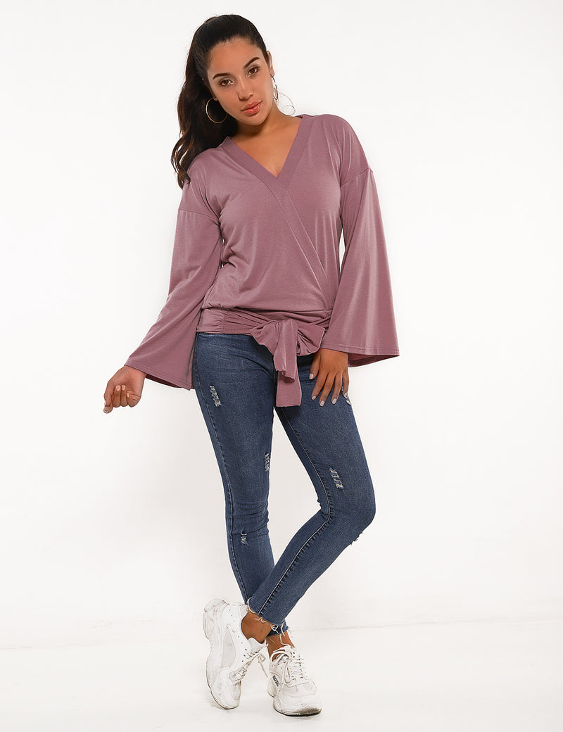 Tie Waist Flare Sleeves Wrap Blouse - Blooming Jelly