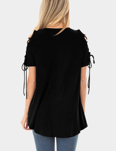 Round Neck Lace Up Sleeve Top Loose Blouse - Blooming Jelly
