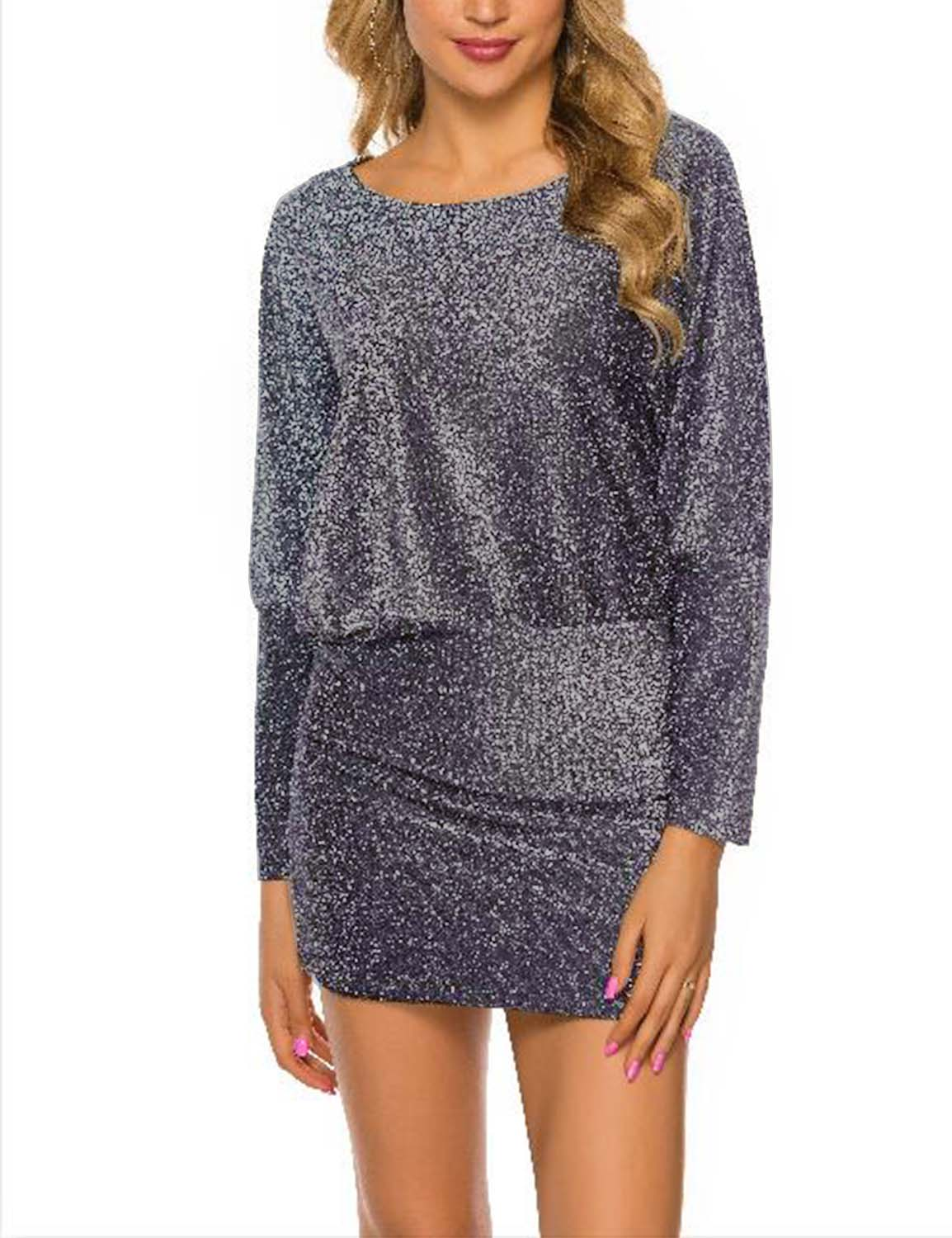 Glittering Party Bodycon Club Mini Dress - Blooming Jelly