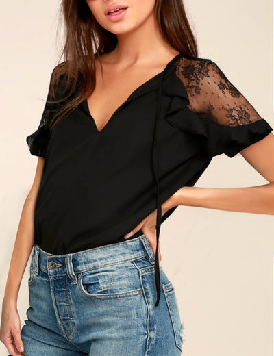 V Neck Embroidered Lace Sleeve Top