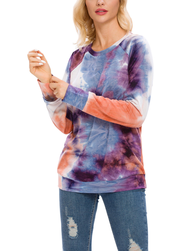 Cool Tie Dye Print Loose Sweatshirt - Blooming Jelly