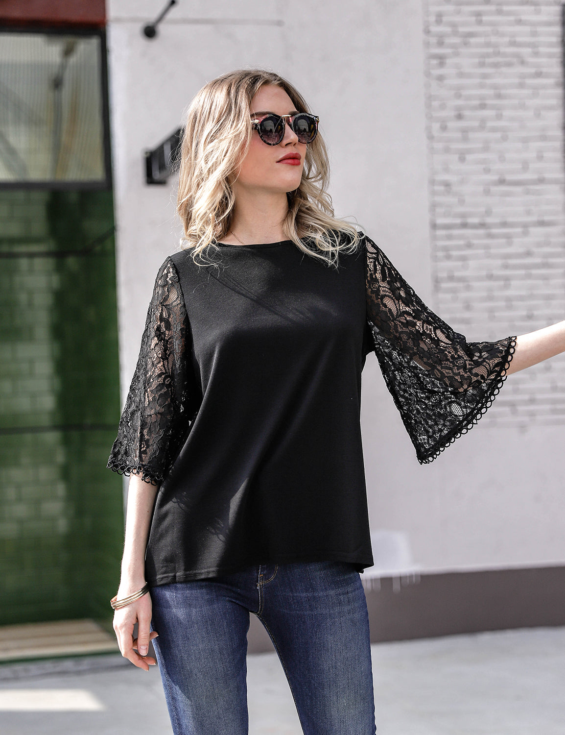 Lady Lace Bell Sleeve Top