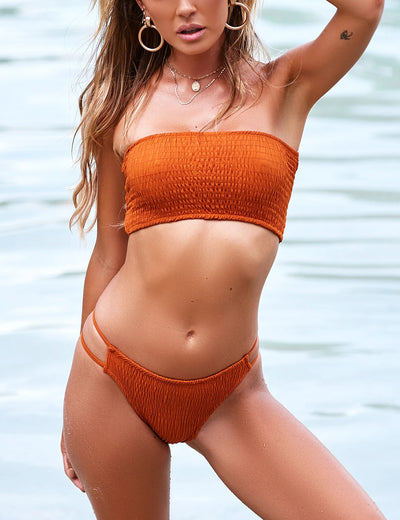 Blooming Jelly_So Hot Smocked Bandeau Cut Out Bikini Set_Solid Color Orange_113031_13_Sexy Women High Cut Beach Vacation_Swimsuit_Bikini Set