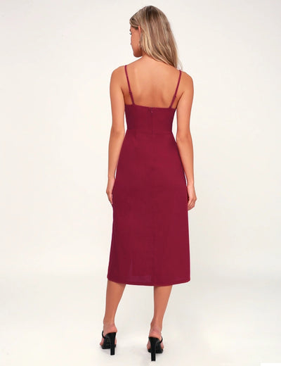 Spaghetti Strap Button Front Midi Dress