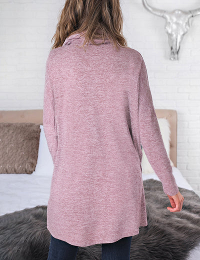 High Neck Asymmetrical Wrap Loose Knit Top - Blooming Jelly