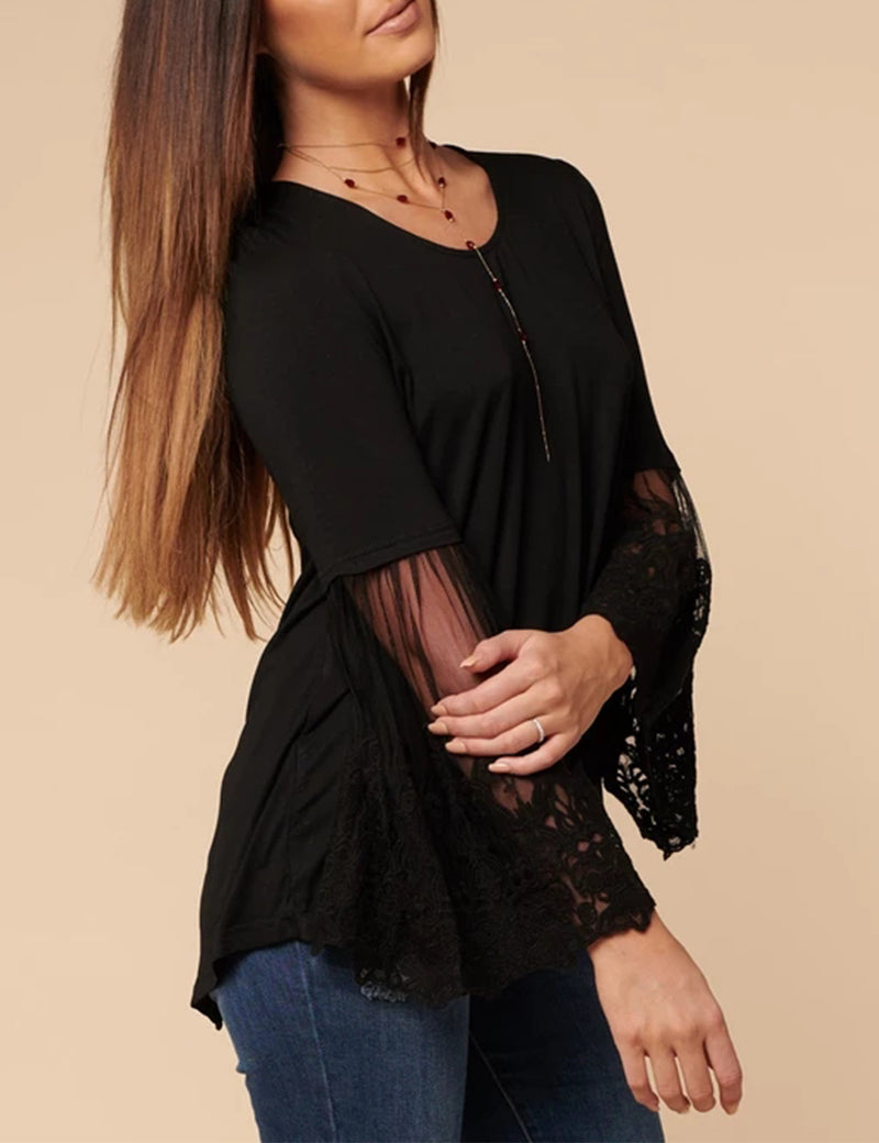 Embroidered Lace Butterfly Sleeve Blouse - Blooming Jelly