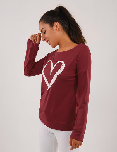 Blooming Jelly_Heart Print Drop Shoulder Sweatshirt_Dark Red_155163_27_Women Fashion Outdoor Wear_Tops_Sweatshirt