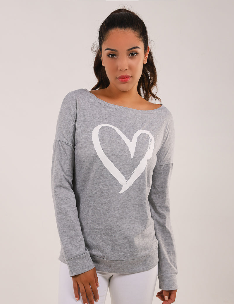 Heart Print Drop Shoulder Sweatshirt - Blooming Jelly