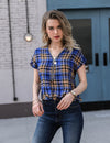 Deep V Neck Zipper Plaid Top - Blooming Jelly