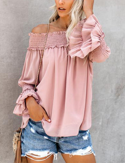 Off the Shoulder Ruffled Chiffon Blouse - Blooming Jelly