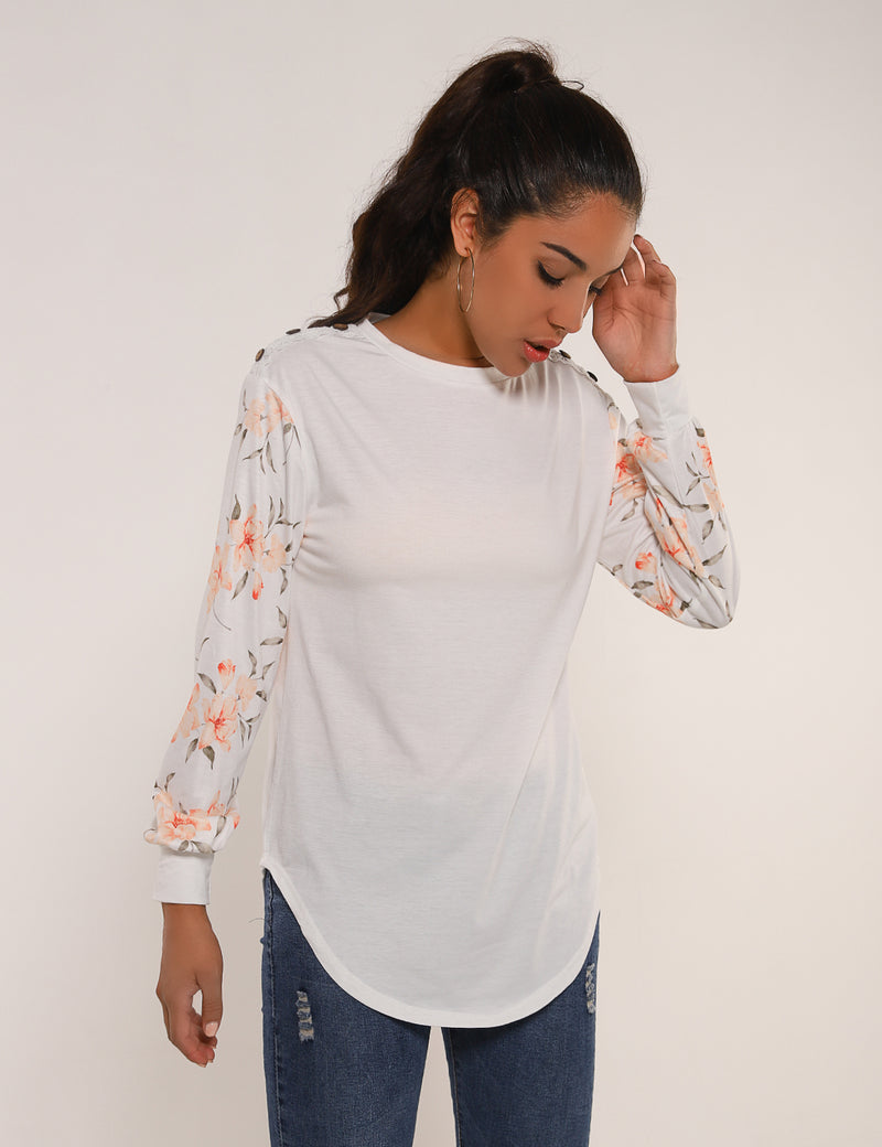 Graceful Floral Sleeves Drop Shoulder Sweatshirt - Blooming Jelly