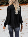 Blooming Jelly_Tie Front Puff Sleeves Lace Ruffled Blouse_Black_153289_02_Women Elegant Daily Wear Long Sleeve_Tops_Blouse