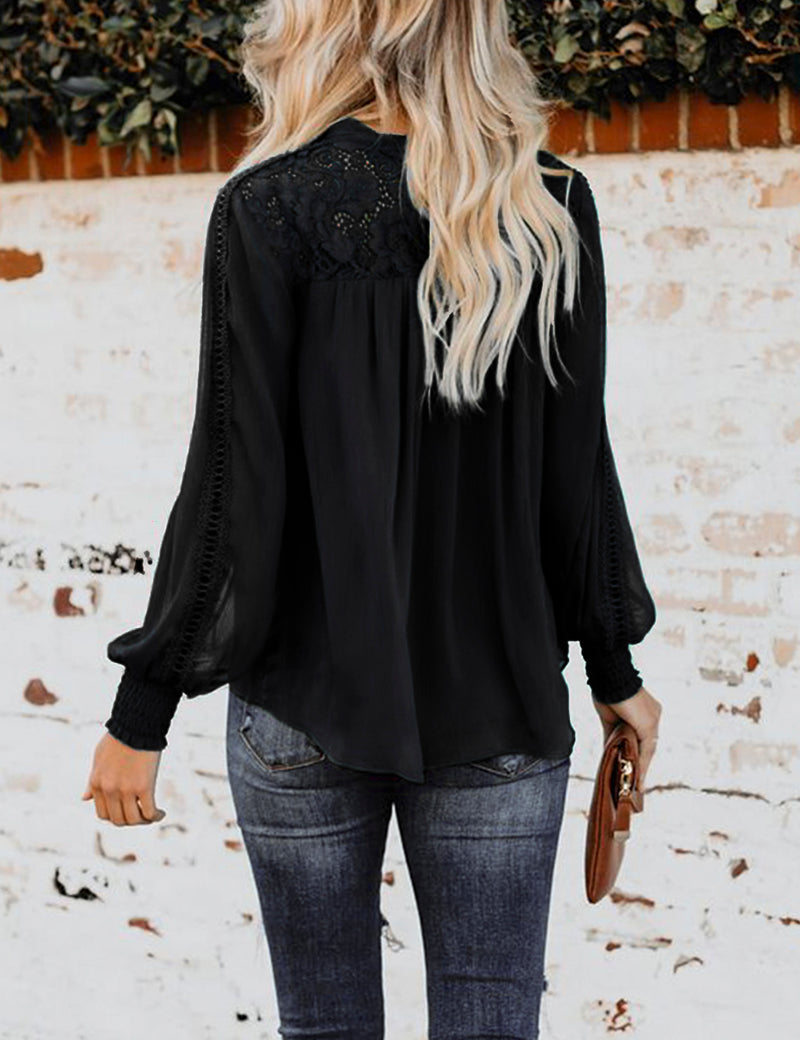 Tie Front Puff Sleeves Lace Ruffled Blouse - Blooming Jelly