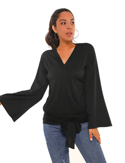 Blooming Jelly_Tie Waist Flare Sleeves Wrap Blouse_Black_153236_02_Women Fashion Outdoor Wear_Tops_Blouse