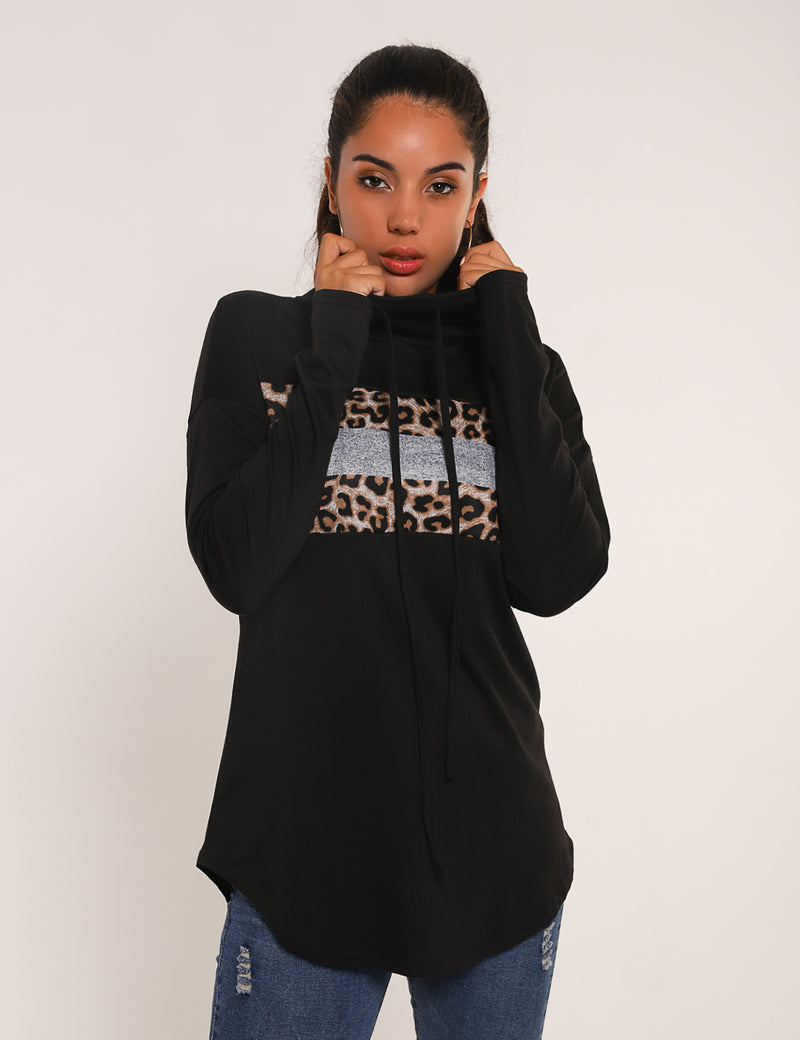 Wild Leopard Patchwork Drawstring Sweatshirt - Blooming Jelly