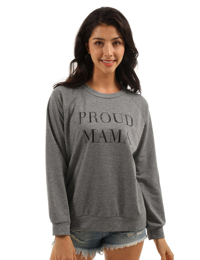 Proud MAMA Letter Print Loose Sweatshirt - Blooming Jelly