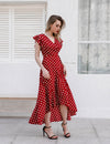 Retro Ruffle Sleeves Maxi Dress