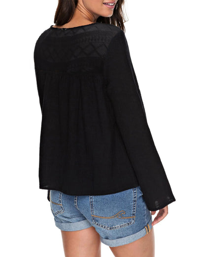 Contrast Lace Tie Hollow Out Flare Sleeve Blouse - Blooming Jelly