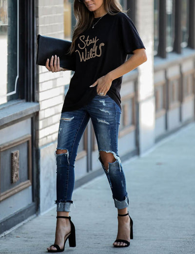Blooming Jelly_Trendy Stay Wilds Leopard Comfy T-Shirt_Letter Print_156107_02_Summer Casual Women Fashion_Tops_T-Shirt