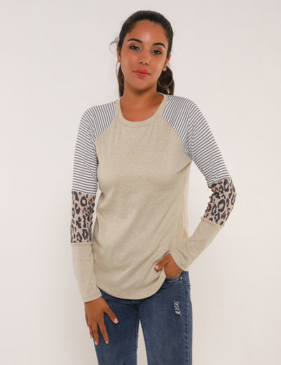 Blooming Jelly_Leopard And Stripes Patchwork T-Shirt_Leopard&Stripes Patchwork_154100_01_Women Daily Wear Long Sleeves_Tops_T-Shirt