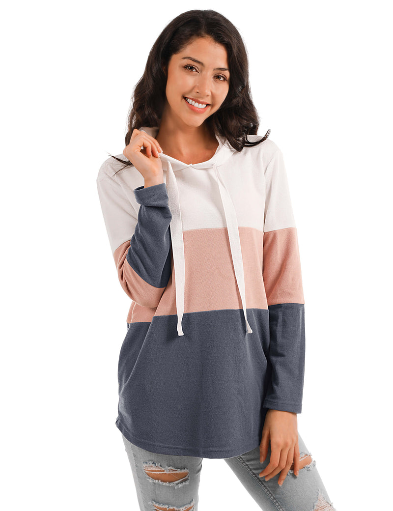 Fun Day Contrast Color Drawstring Hoodie - Blooming Jelly