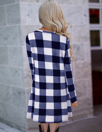 Blooming Jelly_Plaid Scoop Neck Long Sleeve Swing Mini Dress_Blue Plaid_142356_03_Autumn&Winter Outdoor Casual A-Line_Dress_Mini Dress