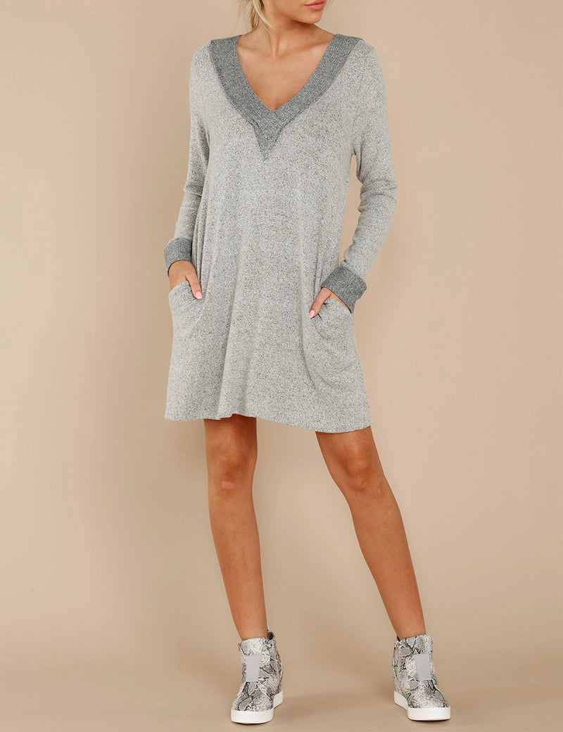 Casual Color Block V Neck Loose Pocket Dress - Blooming Jelly