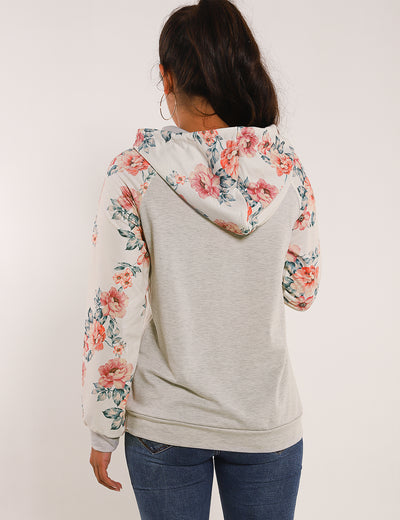 Drawstring Floral Patchwork Casual Hoodie - Blooming Jelly