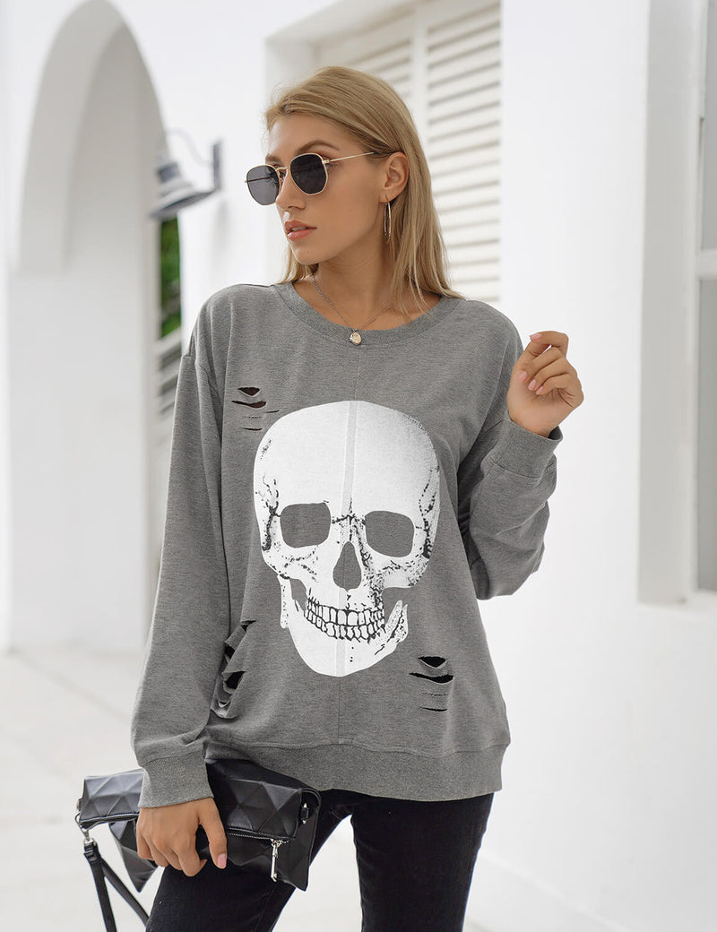 Blooming Jelly_Skull Print Distressed Sweatshirt_Gray_302048_07_Street Style Women Fashion Outfits_Tops_Sweatshirt