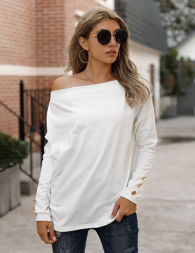 Blooming Jelly_Urban Chic Off Shoulder Long Sleeve T-Shirt_White_302053_19_Loose Women Autumn&Winter Wear_Tops_T-Shirt