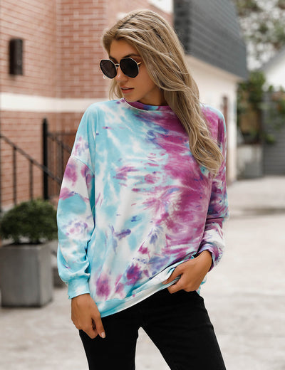 Blooming Jelly_Trendy Blue Tie Dye Sweatshirt_Tie Dye Print_302054_03_2020 Women Streetwear Fashion_Tops_Sweatshirt