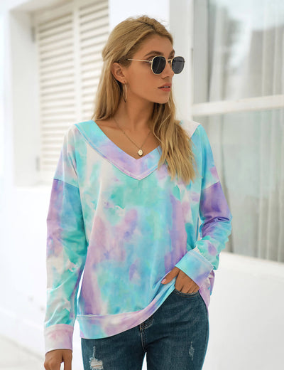 Blooming Jelly_Cute V Neck Tie Dye Sweatshirt_Tie Dye Print_302057_21_Street Style Women Fashion Outfits_Tops_Sweatshirt