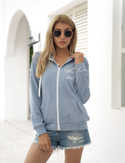 Blooming Jelly_Chill Out Full-Zipper Hoodie Jacket_Blue_303147_03_Sporty Casual Women Daily Wear_Tops_Hoodie