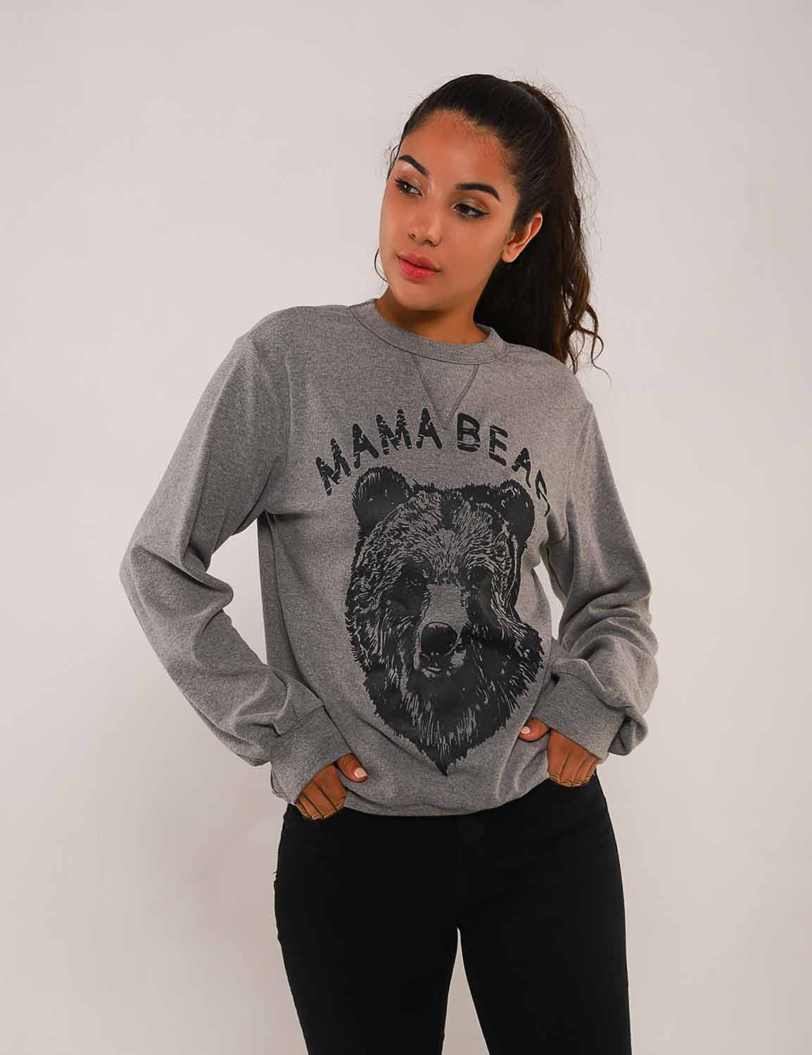 Mama Bear Print Drop Shoulder Sweatshirt