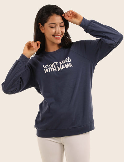 Blooming Jelly_Casual MAMA Letter Print Loose Sweatshirt_Navy_304008_03_Oversized Women Comfy Daily Wear_Tops_Sweatshirt