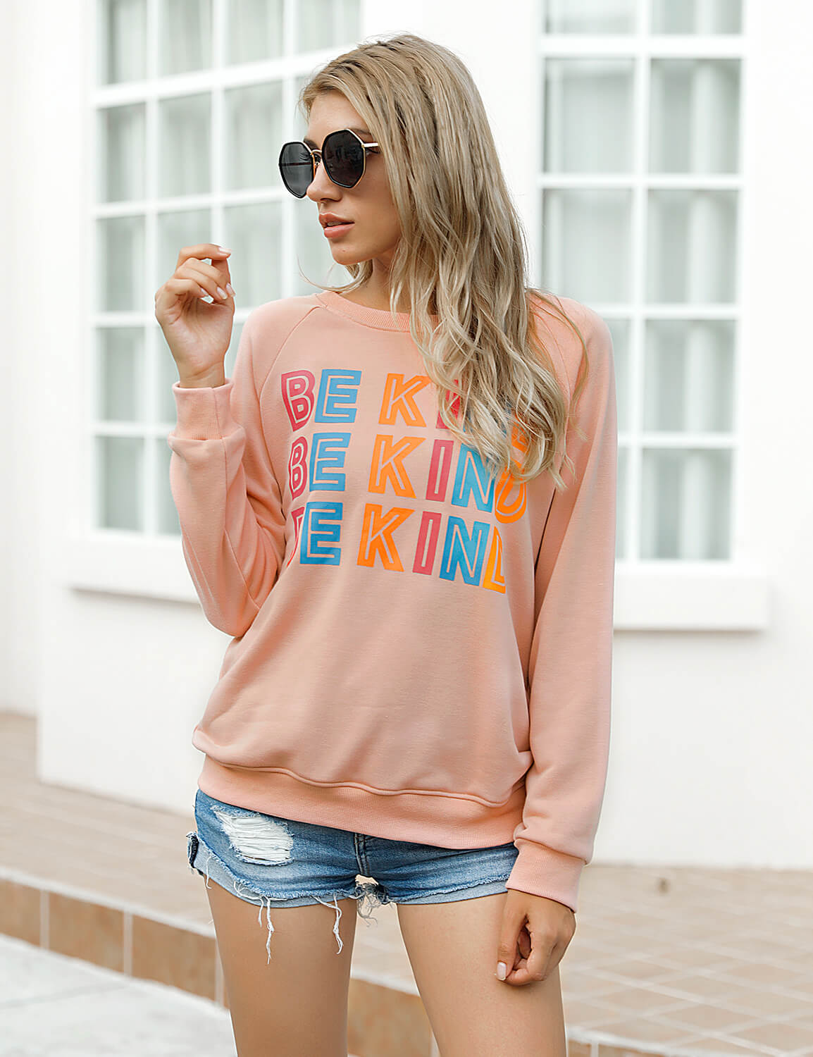Blooming Jelly_Be Kind Letter Print Sweatshirt_Pink_304010_14_Cute Women Outdoor Autumn&Winter_Tops_Sweatshirt