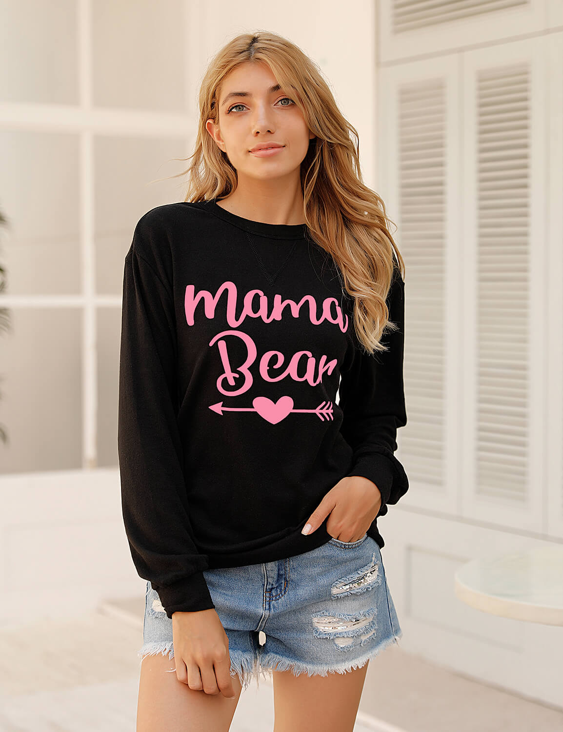 Blooming Jelly_Mama Bear Loose Sweatshirt_Letter Print Black_304019_02_Mom Style Casual Outfits_Tops_Sweatshirt