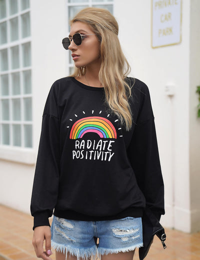 Blooming Jelly_Radiate Positivity Print Graphic Sweatshirt_Letter Print_305078_02_Women Street Style Fashion_Tops_Sweatshirt