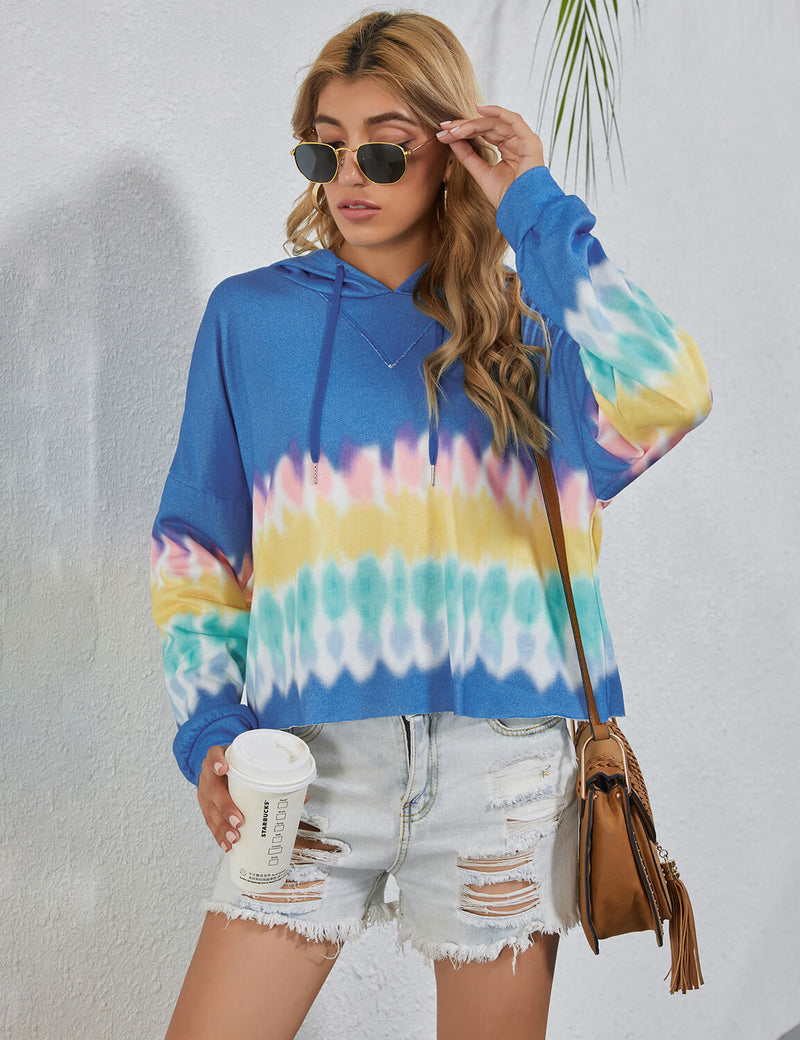 Blooming Jelly_Blue Tie Dye Drop Shoulder Hoodie_Tie Dye Print_305098_04_Street Style Women Fashion Outfits_Tops_Hoodie