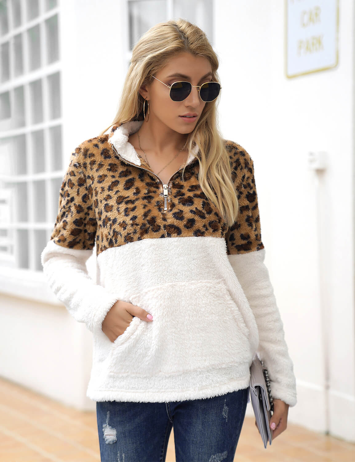 Blooming Jelly_Leopard Patchwork Fuzzy Sweatshirt_Leopard Patchwork_305104_01_Women Warm Autumn Outfits_Tops_Sweatshirt