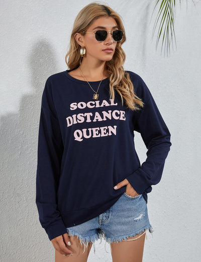 Blooming Jelly_Social Distance Queen Graphic Sweatshirt_Letter Print_306037_30_Stylish Street Wear Casual Outfits_Tops_Sweatshirt