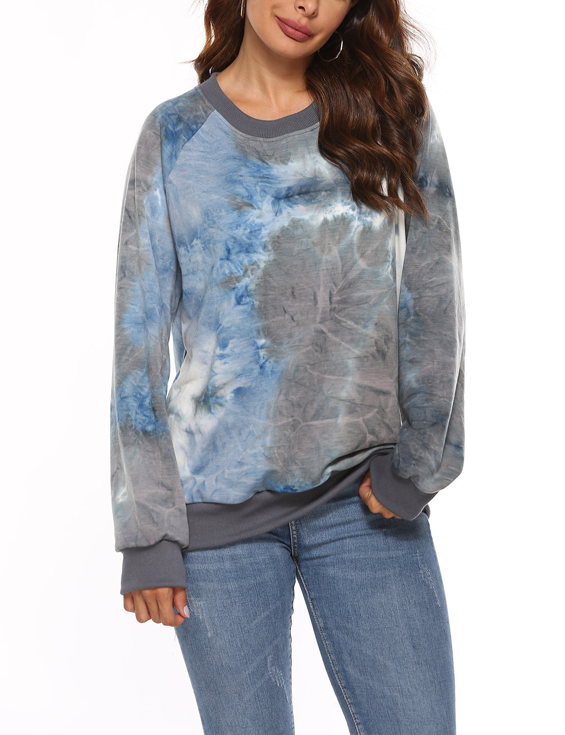 Stylish Blue&Gray Tie Dye Print Loose Sweatshirt - Blooming Jelly